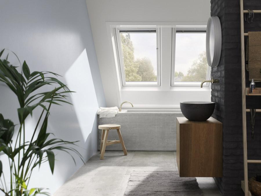 Bathroom loft conversion using VELUX centre pivot roof windows