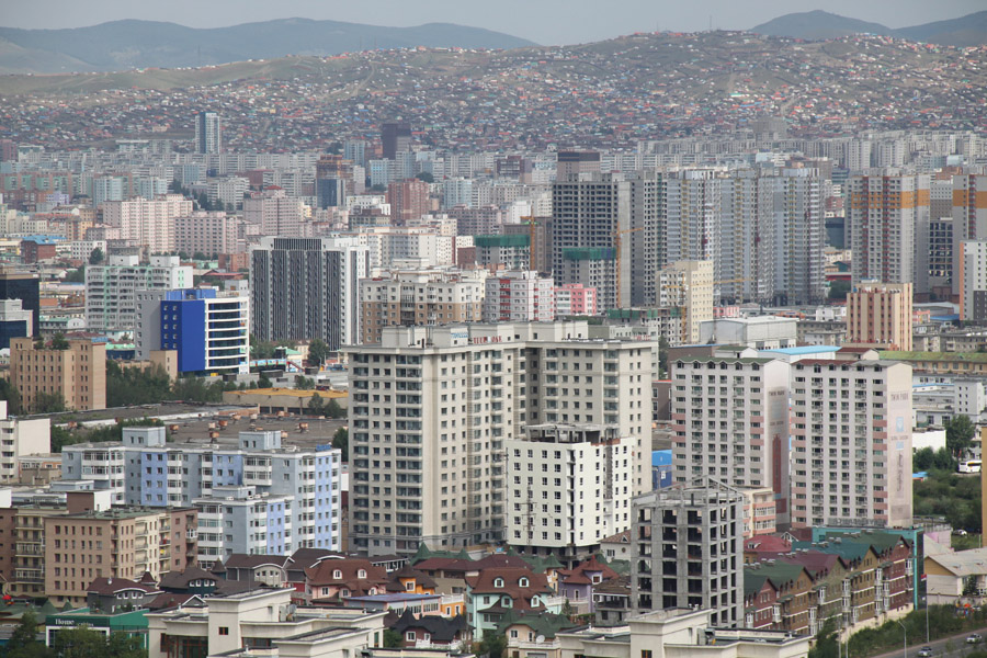The inner city of Ulaanbaatar with the ger district on the hills in the background_Photo by Gary Todd_Source-Flickr Creative Commons