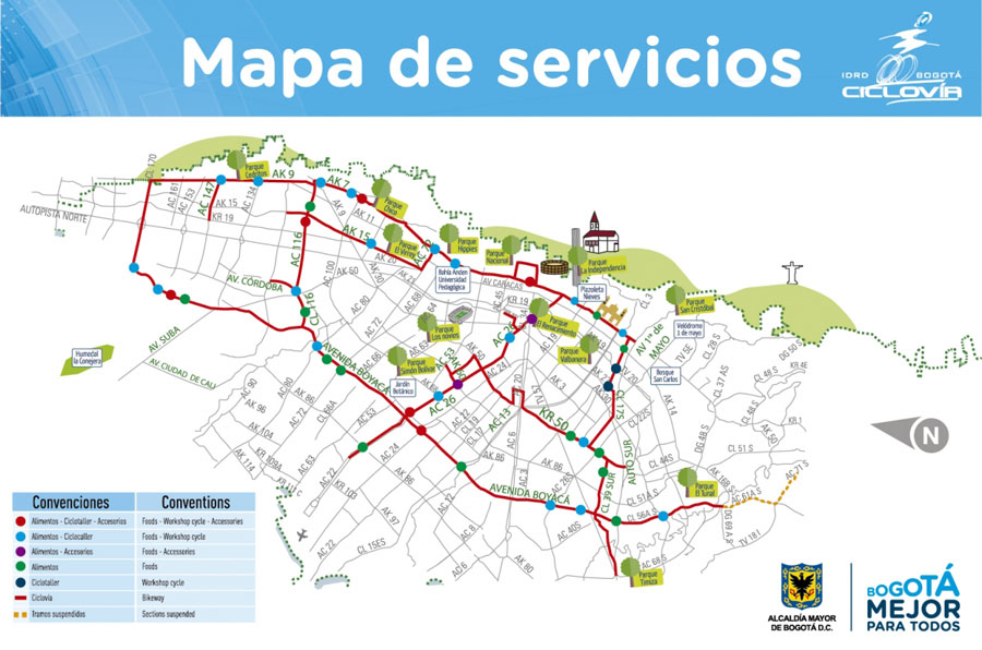 Map showing the services available along the Ciclovia_Source-IDRD