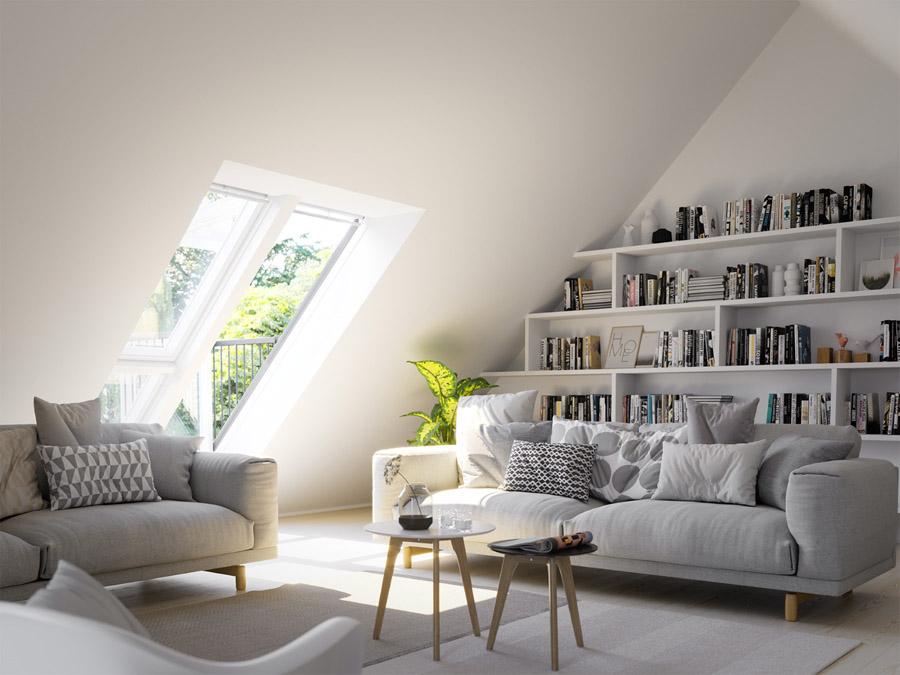 Lounge loft conversion with VELUX CABRIO® balcony