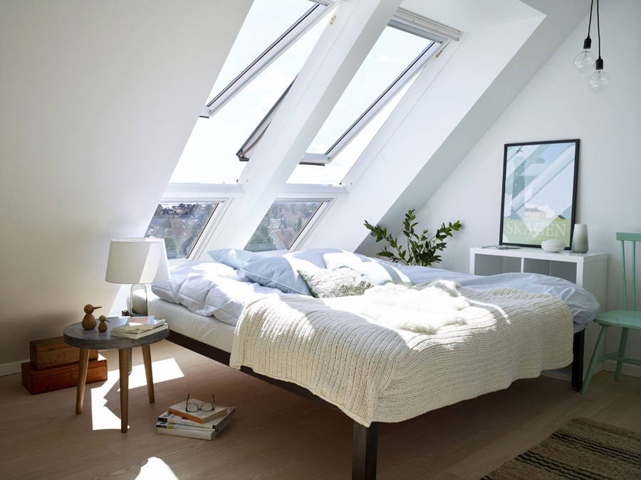 VELUX top hung roof windows in bedroom loft conversion