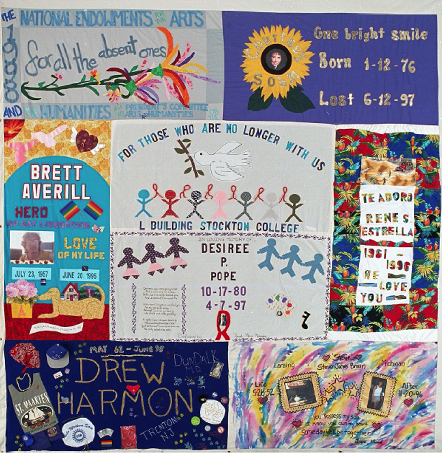 Section of a quilt from The Names Project - and AIDS memorial quilt. Each panel is hand sewn by the friends, family and carers of someone who has died from AIDS (Image courtesy www.aidsquilt.org)
