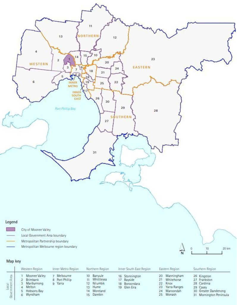 Map of Metropolitan Melbourne Source-Moonee Valley