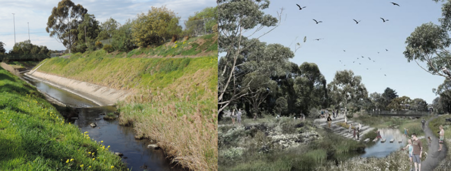 Moonee Ponds Creek - Before and After (artist impression) Source-Moonee Valley