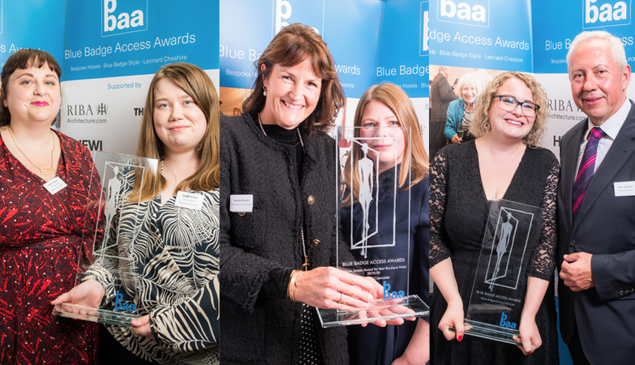 From Left: Woodhorn Museum Ashington Wins Historic England's Award for Inclusive Listed Building., Kings Head Cirencester wins Bespoke Access's Best Boutique Hotel. Jo Dewhurst from Moor Hall Hotel wins the Above & Beyond Prize