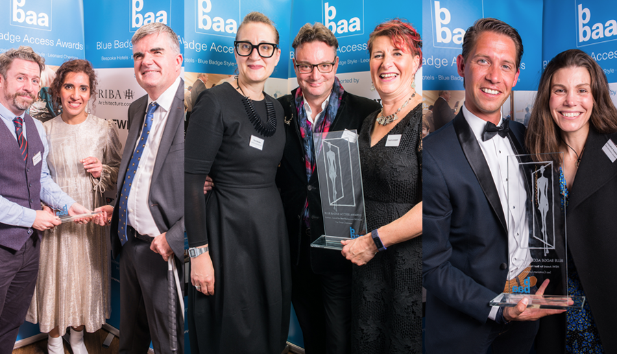 From Left: Shakespeare's Globe wins Leonard Cheshire Awards for Inclusive Employer., Conran & Parters with Three Chimneys Team. Sea Containers win HEWI Best Hotel Award
