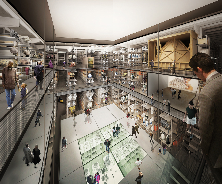 Internal render view of the new V&A collection and research centre at Here East, designed by Diller Scofidio + Renfro © Diller Scofidio + Renfro, 2018