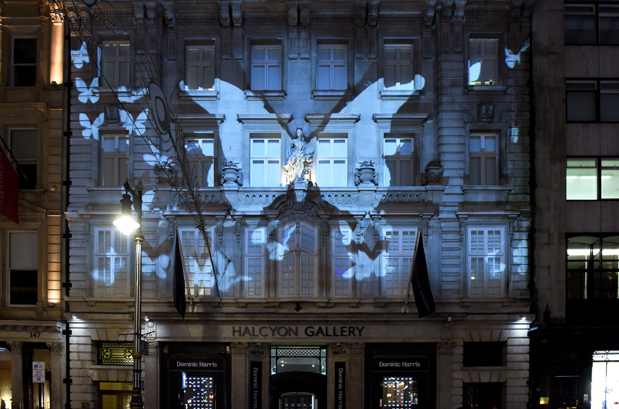 Projection onto Halcyon Gallery's five-story façade