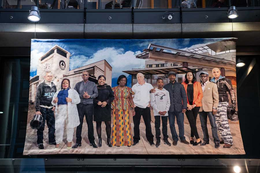 Visual artist and Harlesden-based barber Faisal Abdu'Allah attends the unveiling of his winning entry ('The Park Royals') for the Old Oak and Park Royal Development Corporation (OPDC) Annual Art Commission