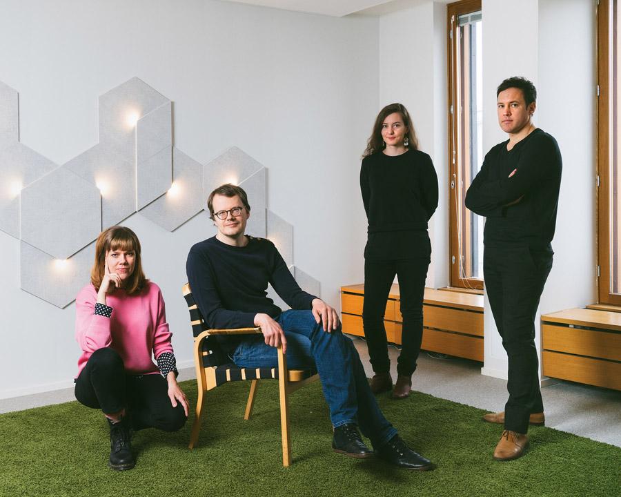 Commissioner Hanna Harris, curators Kristo Vesikansa, Laura Berger Philip Tidwell. Photo Juuso Westerlund ©ArchinfoFinland