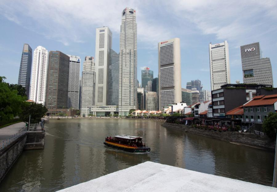 Downtown Singapore as seen from the Elgin Bridge. Photo ©GH Photos
