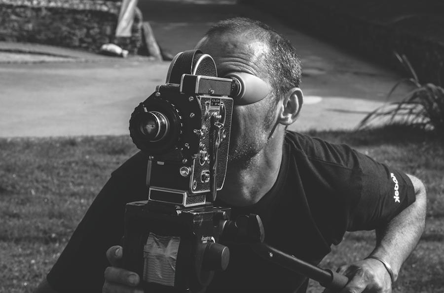 Director Mark Jenkin operating the Bolex camera. Photo ©Thom Axon