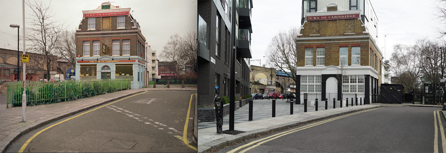 Right: The Duke of Cambridge, Bethnal Green, 1997 ©Chris Dorley-Brown Left: The Duke of Cambridge, Bethnal Green, façade, current-day ©Design Exchange