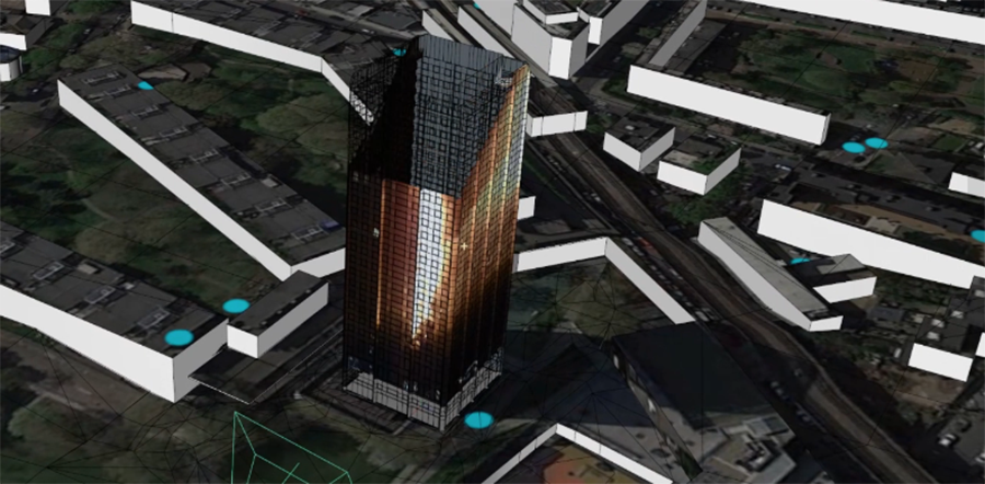 Stabilised and 'motion tracked' video footage is projected back onto to model of the Tower. The green frame indicates the location of the camera.  ©Forensic Architecture