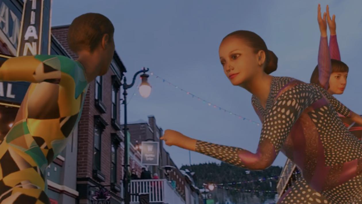 The miniature and mega-giant dancers in Gilles Jobin's VR_I (2018 Sundance Film Festival) .