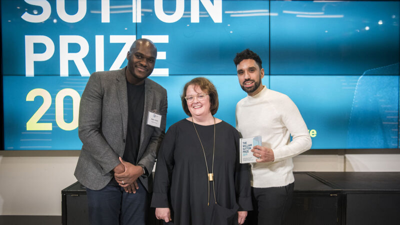 last year's winner, Jas Bhalla Architects, to showcase their concept as well as a photo of Jas Bhalla (right) and Nash Adjaye (left) accepting the award from our Chief Executive, Clare Miller (centre).
